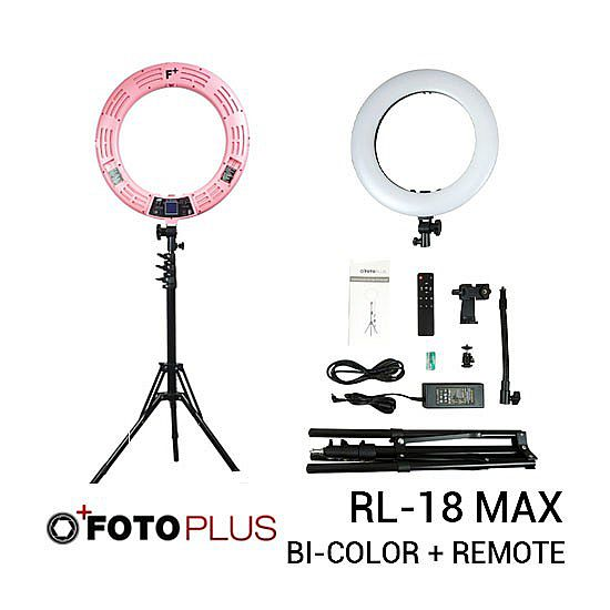 Fotoplus Ringlight RL18 Max Bi-Color Warna Pink